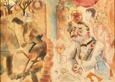 George Grosz , Insider and Outsider, 1925. Watercolour on paper