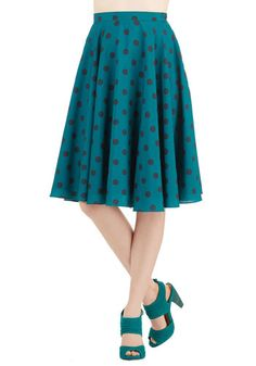 Ikebana for All Skirt in Teal Dots - Blue, Polka Dots, Party, 50s, 80s, High Waist, Full, Woven, Better, Blue, Black, Vintage Inspired, Exclusives