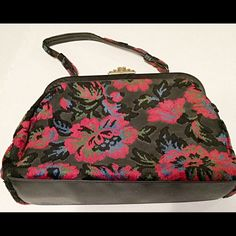 """BOGO free!  Lassy USA Vintage Floral Satchel Grey and black vintage purse satchel with clip closure. Made of a velvet type fabric and a crisp satin material inside.  Clean inside.  Looks like it is from the 40's or 50's era.  12"""" w X 9"""" h X 4"""" d with a 6"""" strap drop to wear on arm.  A larger satchel.   🌾👑. 👗💫🌾👑 Lassy USA Bags Satchels"""