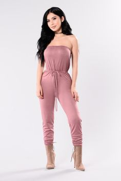 Available In Dark Mauve Strapless Jumpsuit Elastic Tie Waist Cuffed Ankle 88% Polyester 9% Rayon 3% Spandex