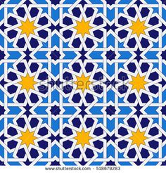 Islamic geometric ornaments based on traditional arabic art. Oriental seamless pattern. Muslim mosaic. Colorful vector illustration. Blue and yellow tile. Mosque decoration element.