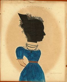 Antique American Folk Silhouette by a Hand with Work Similar to the Puffy Sleeve Artist.