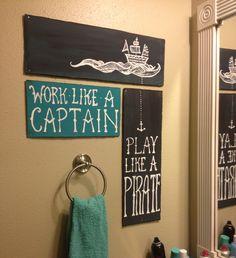 Bathroom art - made me think of Noah's room Jess.