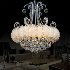 crystal chandelier in Chandeliers and Ceiling Light Fixtures Country Chandelier, Chandelier Ceiling Lights, Ceiling Light Fixtures, Ceiling Decor, Crystal Chandeliers, Bubble Chandelier, Red Lamp Shade, Crystals In The Home, Hanging Crystals
