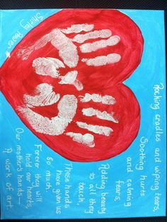 A mother's handprints keepsake painting for her family with a poem