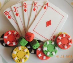 Edible Poker cake and cupcake Toppers Playing by YourFantasyCakes, $31.95