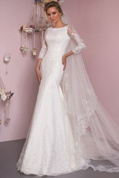 If you're looking for a gorgeous gown while do not wish to show too much skin, this sleeve mermaid wedding dress is made for you. Opt it for your wedding photo shots now! Light Wedding Dresses, Affordable Wedding Dresses, Designer Wedding Dresses, Bridal Gowns, Wedding Gowns, Blessing Dress, Lace Mermaid, Mermaid Wedding, Luxury Dress