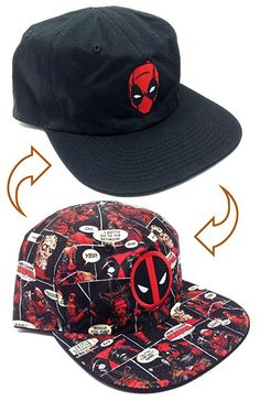 bc12ae9c650 Amazon.com - Marvel Comics Deadpool Reversible Flat Bill Adjustable Hat