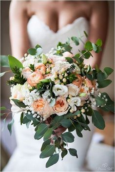 just add a few maroon flowers Bridal Bouquet by Myrtle & Smith. David Austin Juliet roses, peach and cream colours and some gorgeous myrtle, ranunculus and eucalyptus. Cream Wedding, Rose Wedding, Floral Wedding, Wedding Colors, Apricot Wedding, Gypsophila Wedding, Eucalyptus Wedding, Peach Bouquet, Deco Floral
