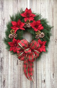 This Traditional Red Poinsettia and Pine Cone Christmas Wreath brings the spirit Christmas Reef, Large Christmas Wreath, Dollar Tree Christmas, Christmas Greenery, Outdoor Christmas Decorations, Holiday Wreaths, Christmas Crafts, Christmas Ornaments, Holiday Decor