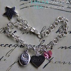 Amulettirannekoru love much sisko sydänamuletilla ja pinkillä Swarovskin kristallisydämellä <3 Voit tilata omasi täältä http://www.helmipaikka.fi/tuotteet.html?id=14/3302