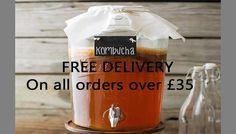 Free delivery on all Uk orders over Kombucha Drink, Probiotic Drinks, Kombucha How To Make, Water Kefir, Vegan Yogurt, Milk, Organic, Free Delivery, Black Friday