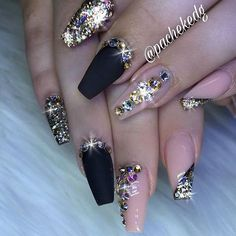 Glittery Bling Nails by . Check out more Nail Masters… - Coffin nails are fun to experiment with. Take a look at these 69 impressive designs you will definitely want to play around with. Chic Nails, Glam Nails, Bling Nails, Glitter Nails, Gold Nail, Gorgeous Nails, Love Nails, Pretty Nails, My Nails