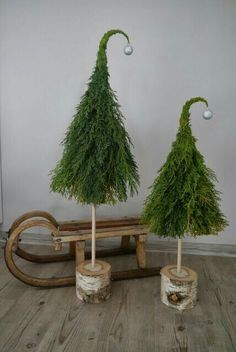 Xmas Christmas tree indoor outdoor decor diy left over branch clippings mini wood recycle grinch