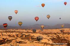 Flying over Cappadocia, Turkey, in a hot air balloon