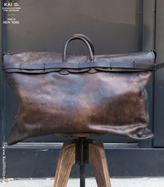 1920s Leather Travel Bag #valise #collectible