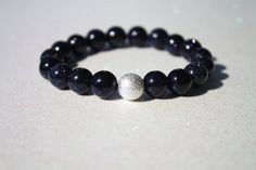Natural Blue Sandstone Navy Blue Sparkling Stretch Stacking Bracelet Handmade by PhenomenalWomen $22