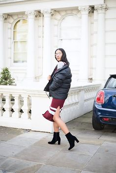 Get this look: http://lb.nu/look/8447547  More looks by Elvira Vedelago: http://lb.nu/carellestyle  Items in this look:  Penfield Usa Bower Bridge Down Jacket, Asos Geeky Metal Frame Glasses, H&M Ribbed Dress, Dorothy Perkins Ariana Navy Velvet Boots   #casual #chic