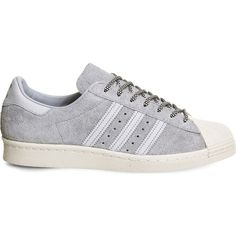 Adidas Superstar 80s suede trainers ($84) ❤ liked on Polyvore featuring shoes, sneakers, print shoes, adidas, adidas shoes, suede shoes and 1980s shoes