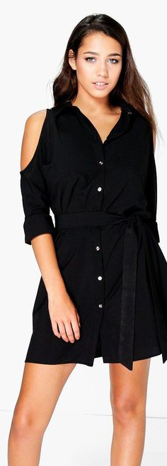 Annie Cold Shoulder Shirt Dress - Dresses  - Street Style, Fashion Looks And Outfit Ideas For Spring And Summer 2017