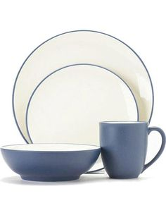 Charming blue and ivory stoneware that's great for everyday use. Buy it here: http://www.bhg.com/shop/noritake-noritake-colorwave-blue-4-piece-coupe-shape-place-setting-p500dac6582a797dc89431abe.html