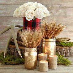 DIY - i like the wheat filled gold mason jars and the twine wrapped tea lights.