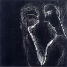 Susan Rothenberg (b. Jan. 20, 1945): Mezzo Fist #1, 1990 - mezzotint and chine colle on paper (Smithsonian)