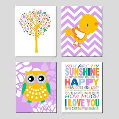 You Are My Sunshine Nursery Art Set of Four 8x10 di Tessyla