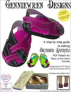 """BRAIDED SANDALS 18"""" DOLL SHOES"""