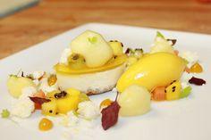 Crème fraîche cheesecake, passion fruit gelee, tropical fruit, fizzy crocante, passion fruit foam, mango passion fruit sorbet by Pastry Chef Antonio Bachour, via Flickr