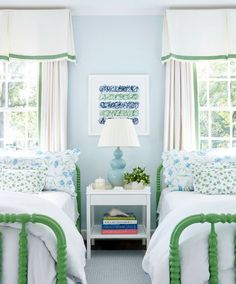 Jenny Lind Bed Beautiful Bedroom Green Bed Frame White Bed Blue Wall And White Curtain Bedroom Green, Home Bedroom, Girls Bedroom, Bedroom Decor, Preppy Bedroom, Feminine Bedroom, Childrens Bedroom, Wall Decor, Jenny Lind Bed