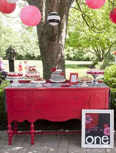 pink and red dessert table...I want this dresser! Paul and I have been looking for forever for the perfect dresser to turn into a kitchen island!! I love this one!