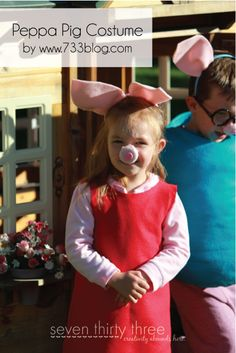 Peppa and Daddy Pig - A Halloween Costume Tutorial - organize a peppa pig halloween party!!  Find all the peppa pig party supplies at partyweb.us #peppapigpartysupplies #peppapigparty