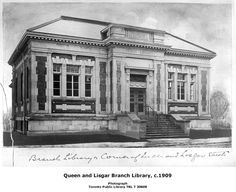 The Queen and Lisgar Branch Library, designed by Robert McCallum, City Architect, was built to serve residents of the city's west end. The branch opened on April 30, 1909. In 1957, the library's Foreign Literature Centre was located at the branch. Queen and Lisgar Branch was closed in February 1964, and was replaced by Parkdale Branch Library. The City of Toronto Public Health Department, Parkdale District, now uses the building