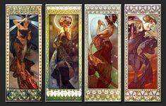 Alphonse Mucha,  La lune et les étoiles: L'Étoile du matin, Clair de lune, L'Étoile polaire,L'Étoile du soir, (1902)