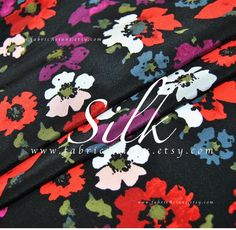buy Colorful flowers Black Silk Crepe Fabric by the yard