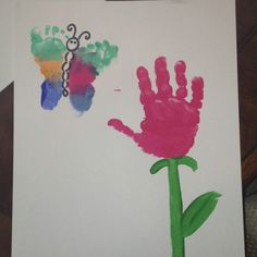 Mother's day hand print flower and butterfly craft!