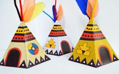 Print out and make these delightful Native American Teepees. decorate with feathers, pipe cleaners and twigs. Free to download from The ImaginationBox