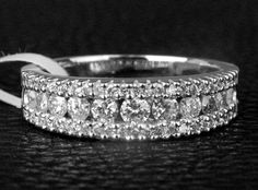 Channel 1.01ct Round Cut Diamonds 14K White Gold Wedding Half Eternity Band Ring #LOGR #WithDiamonds