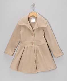 Another great find on #zulily! Tan Button Coat - Infant, Toddler & Girls #zulilyfinds