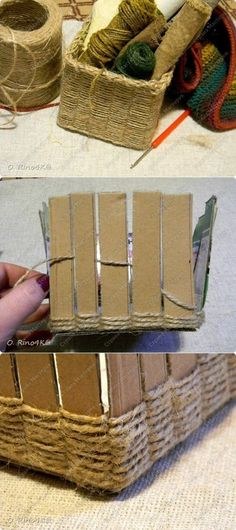 Diy basket with cardboard ( or paint sticks ) and twine. Might be adaptable to a staircase basket