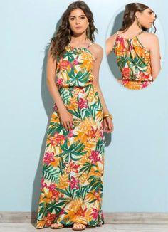 Vestido Longo  Estampa Tropical