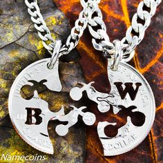 Dirt bike BFF Necklaces for Best Friends Gifts, custom with your initials, extreme couples Interlocking like a puzzle, hand cut coin Motorcycle Style, Bike Style, Dirt Bike Wedding, Puzzle Piece Necklace, Dirt Bike Racing, Bike Tattoos, Bff Necklaces, Couple Necklaces, Bike Photography