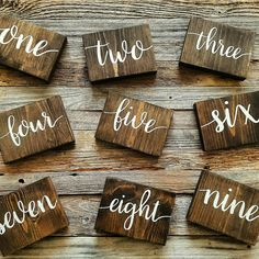 These wooden table numbers are the perfect addition to your rustic wedding decor! They are freestanding and can be made double sided. To order a set of these table numbers, just set your quantity to the number of tables you will need numbered. Example: If you order 12 table numbers, you will receive a set of 12 wooden blocks numbered 1 through 12. If you have a font that you are currently using for your wedding decor, please let me know and we can try to accommodate that.  Please send me a…