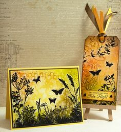 Embossed and inked cards decorated with images stamped on tissue paper and glued down with gel medium.  - by Elina Stromberg -
