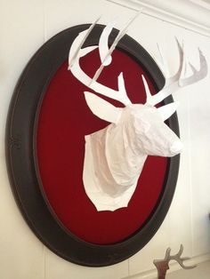 How to make a Paper Mache deer head and mount it on a red velvet oval frame!