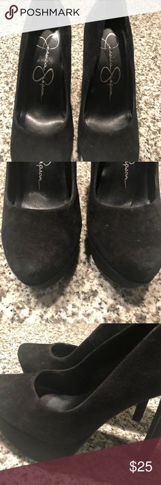 Jessica Simpson pumps 6 Black suede Jessica Simpson platform pumps. Lightly worn, great condition! See a bit of wear on the toe, barely noticeable.  Comes with box Jessica Simpson Shoes Heels
