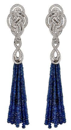 Entanglement sapphire and diamond tassel by Garrard