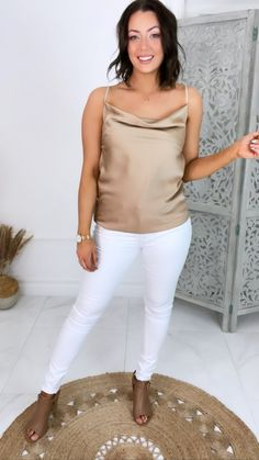 Mocha cami, going out top, white jeasn outfit, summer outfit inspo, jeans and a nice top, cowl neck cami, silk cami, mocha top outfit inspo Going Out Tops, Cami Tops, Online Boutiques, Nice Tops, Cowl Neck, Mocha, White Jeans, Fashion Online, Size 12
