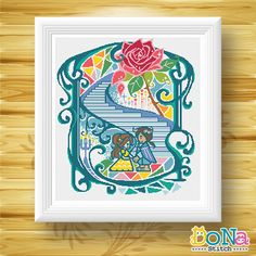 Beauty and the Beast - Fairy Tale Series - Cross Stitch Patterns  ■■■■■■■■■■■■■■ Pattern Info ■■■■■■■■■■■■■■  Finished Size: 224Wx252H (Around 16X18